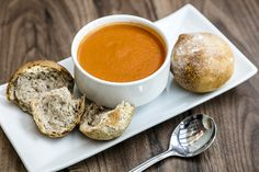 Soup of the day served with a crusty bread roll and butter. Hotel Guest, Hotel Spa, Riverside Garden, Lake District, Soup, Butter, Lunch, Bread, Dining