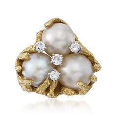 Vintage Henry Dunay South Sea Pearl and Diamond Ring