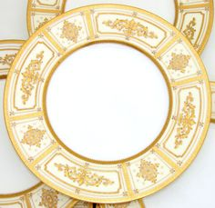 Gorgeous Antique - Vint. MINTON 8pc Dinner Plate Set, for Tiffany & Company with Raised Gold Enamel