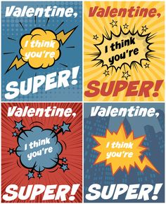 Superhero Free Printable Valentines- great for little comic book lovers! 4 free printable cards to a page.