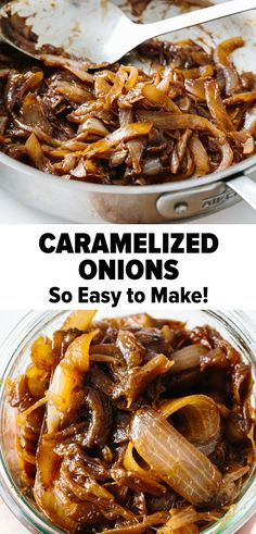 Caramelized onions are onions that have cooked low and slow turning sweet and golden. Theyre incredibly easy to make and add a burst of flavor when topped on burgers or steak or used in soups casseroles and dips. Learn how to caramelize onions easily! Caramelized Onions Recipe, Carmelized Onions, Veggie Dishes, Vegetable Recipes, Food Dishes, Side Dishes, Vegetarian Recipes, Cooking Recipes, Healthy Recipes