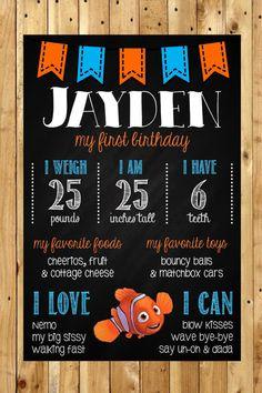 Finding Nemo 1st Birthday Chalkboard Poster by MsThirdGrade
