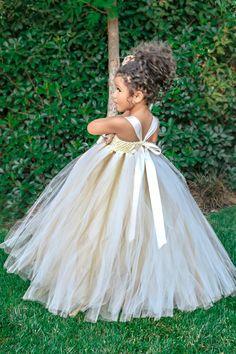 Ivory Flower Girl Dress Gold Champagne by SimplyEleganceBridal