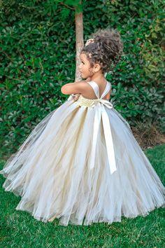 Ivory Flower Girl Dress Gold Champagne by SimplyEleganceBridal