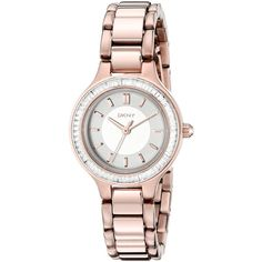 DKNY CHAMBERS Rose Gold Watch featuring polyvore, fashion, jewelry, watches, analog watches, dress watches, dkny jewelry, rose gold jewellery and rose gold jewelry