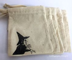 Wizard of Oz Character Bags/ Cotton Drawstring by craftypagan