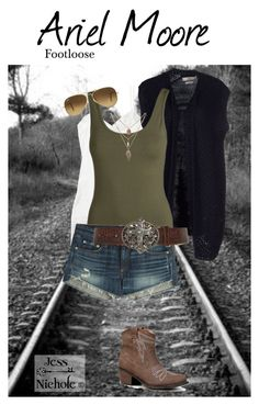 """""""Footloose (2011): Ariel Moore"""" by jess-nichole ❤ liked on Polyvore featuring Replay, Pieces, rag & bone, Ray-Ban, Qupid and country"""