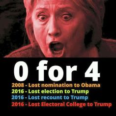 Hillary didn't lose only 3 times... it is actually 4 ~@guntotingkafir GOD BLESS AMERICA AND GOD BLESS PRESIDENT TRUMP!!!