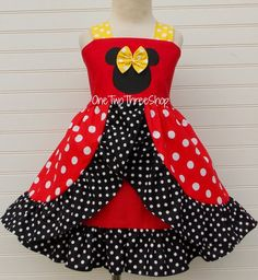 Items similar to Minnie Mouse Dress Custom Boutique Clothing Med Red Yellow Arch Skirt Sassy Girl on Etsy Cute Girl Outfits, Cute Outfits For Kids, Little Girl Dresses, Girls Dresses, Emo Outfits, Baby Girl Fashion, Kids Fashion, Punk Fashion, Lolita Fashion