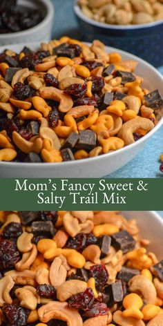 A little bit sweet with dark chocolate chunks and dried cherries, and a teensy bit salty from mini gold fish crackers and salted cashews- Mom's Fancy Sweet & Salty Trail Mix is an addictive snack mix. Five minutes is all you need to whip up a batch! Trail Mix Recipes, Snack Mix Recipes, Fall Recipes, Appetizer Recipes, Cooking Recipes, Snack Mixes, Appetizers, Salty Snacks, Vegan Snacks