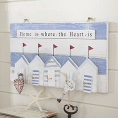 Beach Hut Plaque with Hooks-Home is where...