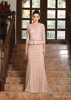 CLASSY MOTHER of THE BRIDE GROOM LACE DRESS FORMAL 3/4 SLEEVE EVENING LONG GOWN