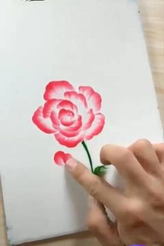 Art Drawings For Kids, Art Drawings Sketches Simple, Diy Painting, Easy Flower Painting, Acrylic Painting Flowers, Finger Painting, Painting Videos, Fabric Painting, Watercolor Art Lessons