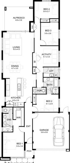 1000 images about single storey floor plans narrow lot for Lake house floor plans narrow lot