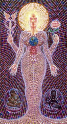 Sophia by Alex Grey, Acrylic on Canvas, in. ~The Sacred Mirrors series Alex Grey, Alex Gray Art, Grey Art, Arte Chakra, Allyson Grey, Surreal Artwork, Fantasy Artwork, Meditation Art, Black Goddess