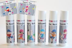 :: DETAILS :: This listing is for 6 Rock Climbing Theme Lip Balm. Ingredients: organic palm oil, beeswax, soybean oil, organic extra