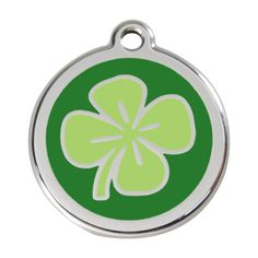 Red Dingo Custom Engraved Stainless Steel and Enamel Dog ID Tag - Lucky Clover (Small) * Check this awesome product by going to the link at the image. (This is an affiliate link and I receive a commission for the sales)