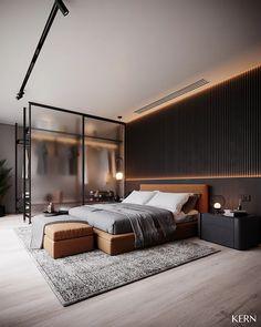 PROJETOS   Home Loft Interior, Master Bedroom Interior, Modern Master Bedroom, Home Decor Bedroom, Interior Architecture, Interior Modern, Cozy Bedroom, Luxury Interior, Bedroom Wall