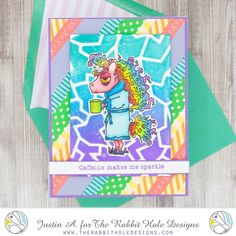 This project uses the Caffeinated- Unicorn and Broken Glass Stencil from The Rabbit Hole Designs. Be sure to follow me on Instagram @justanotebyjustin for more crafty inspiration!