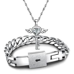 830c451afe New Fashion Couples Jewelry sets Silver His and Hers White Cubic Zirconia  Key Pendant Necklace And Titanium Steel Lock Link Chain Bracelet  Bangle,Valentines ...