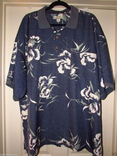 TOMMY BAHAMA Men's Short Sleeve Hawaiian Print Silk Polo Shirt sz XXL 2XL