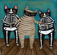 Mummy and Skellie Cats Original Folk Art by KilkennycatArt on Etsy