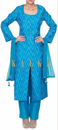 Buy this Blue straight suit adorn in resham embroidered butti only on Kalki
