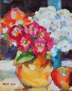 Flowers in Yellow Vase with an Apple by Becky Kim Lilies Of The Field, Apple Painting, Yellow Vase, Flower Art, Greeting Cards, Bloom, Lily, Wall Art, Flowers