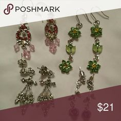 Earring Bundle 4 pair of earrings with assorted colored stones. Green, pink, purple and clear stones. Jewelry Earrings