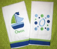 Monogrammed Sailboat Burp Cloth Set - Blue and Green - Personalized Custom Gift Set