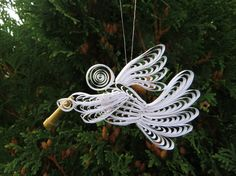 Paper Quilled Christmas Angel by NatureMaidTreasures on Etsy, $12.00