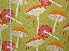 Mushroom fabric Scandinavian style mid-century fabric fantasy retro fabric green fabric orange fabric cottage decor  1 yard