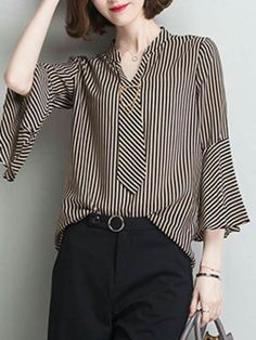 Pin stripe blouse with neat necktie neckline and bell sleeve bottoms Fashion Details, Look Fashion, Hijab Fashion, Fashion Dresses, Womens Fashion, Fashion Design, Spring Fashion, Blouse Styles, Blouse Designs