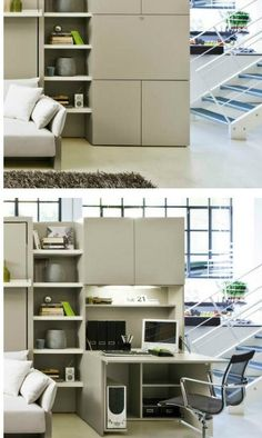 Wall Built-In with Hidden Desk Hidden Desk, Built In Desk, Built In Cabinets, Home Deco Furniture, Desk In Living Room, Desks For Small Spaces, Study Nook, Cubby Storage, Desk Areas