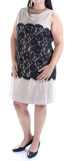 f82878ed4a11e Calvin Klein Womens 1044 Beige Faux Suede Lace Sleeveless Dress 14 B B