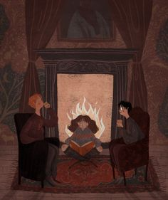 Harry, Ron, and Hermione by @taryndraws #harrypotter #fanart