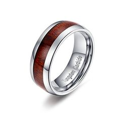 Bishilin Tungsten Bright /& High Polished Classic Silver 4MM Ring Wedding Band for Women Men Size 5