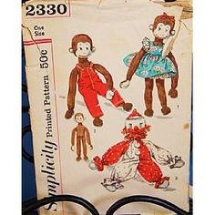 Simplicity 2330 Sock Monkey & Clown Stuffed Stocking Toy Doll & Clothes Transfer Vintage Sewing Pattern