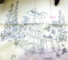 CRINOLINE LADY WITH FLOWERS – vintage transfer