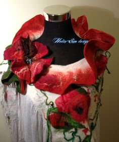 www.nadinsmo.com **POPPIES**Luxury  hand felted pure merino wool and natural cotton scarf wrap-shawl by Nadin Smo design,with brooch from pure merino wool