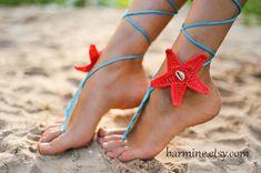 Coral and Aqua Starfish Seashells Crochet Barefoot Sandals, Bridal accessory, Bridal jewelry, Beach wedding Foot jewelry, Bridal shoes, Sexy
