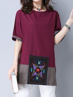 Sale 14% (25.21$) - Ethnic Embroidery Patchwork Half Sleeve Split T-shirts