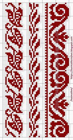 Filet Crochet, Crochet Patterns Filet, Crochet Cross, Bead Loom Patterns, Tapestry Crochet Patterns, Cross Stitch Boarders, Cross Stitch Flowers, Cross Stitch Designs, Cross Stitching