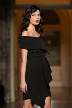 AltraRoma Orovica #little black dress #lbd #collars #orovica #orovicafashion Runway Fashion, Fashion Show, Every Woman, Lbd, Peplum Dress, Collars, Shoulder Dress, Black, Dresses