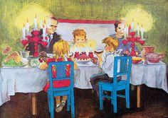 Illustratie van Ilon Wikland uit het boek 'Winter in Bolderburen' van Astrid Lindgren. Astrid Lingren, Swedish Language, Chapter Books, Naive, Yule, Christmas Cards, Xmas, My Children, Book Illustrations