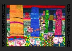 "Hundertwasser art print ""Hats that wear you"" - 67 x 48 cm - 64,00€"