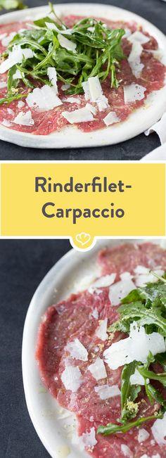 Ein Carpaccio wie bei deinem Lieblingsitaliener um die Ecke. Herrlich leicht, schnell und einfach zubereitet. Perfekt!