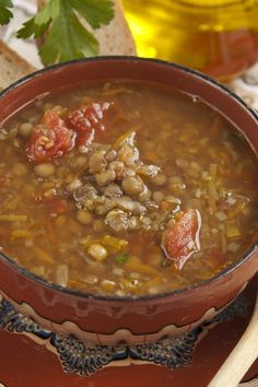 Slow Cooker Italian Lentil and Barley Soup