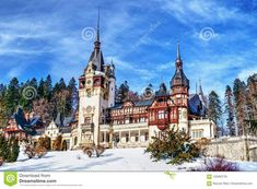 Peles Castle, Neo-Renaissance castle in the Carpathian Mountains in Sinaia, Romania, residence of Romanian king Michael, seen from the distance in a winter day  carpathian,castle,king,michael,mountains,peles,romania,romanian,sinaia,winter,ancient,architectural,architecture,art,attraction,balcony,baroque,beautiful,blue,building