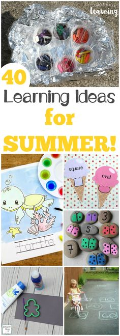 These 40 learning activities for summer are a great way to keep the learning going all during summer break! #summer #education #learning #homeschool #homeschooling #kids